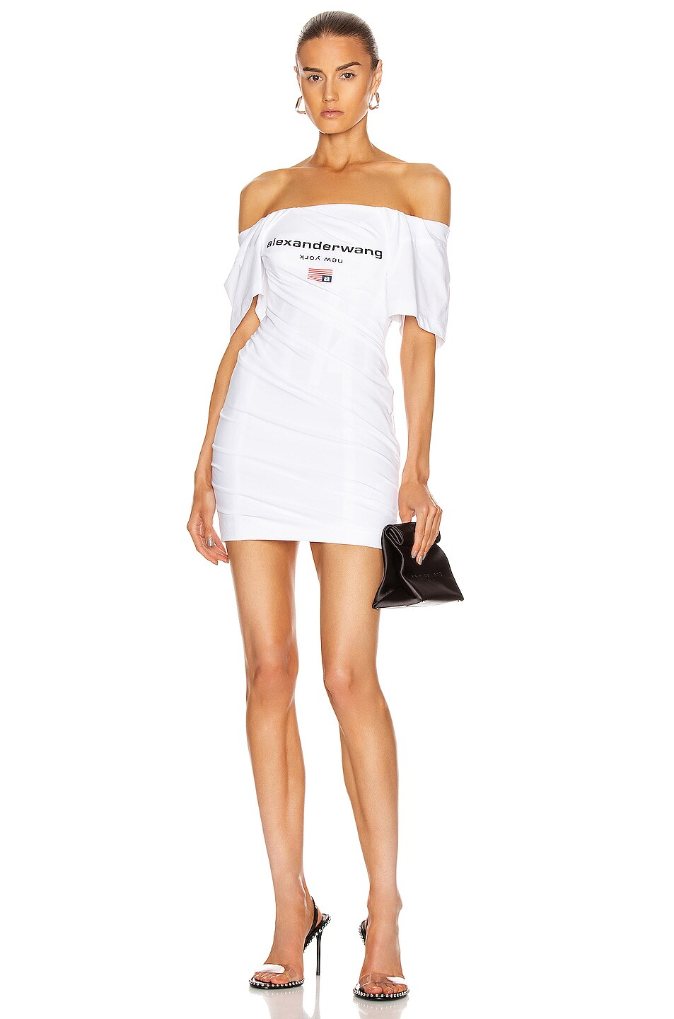 Image 1 of Alexander Wang Twisted T-Shirt Bustier Dress in White