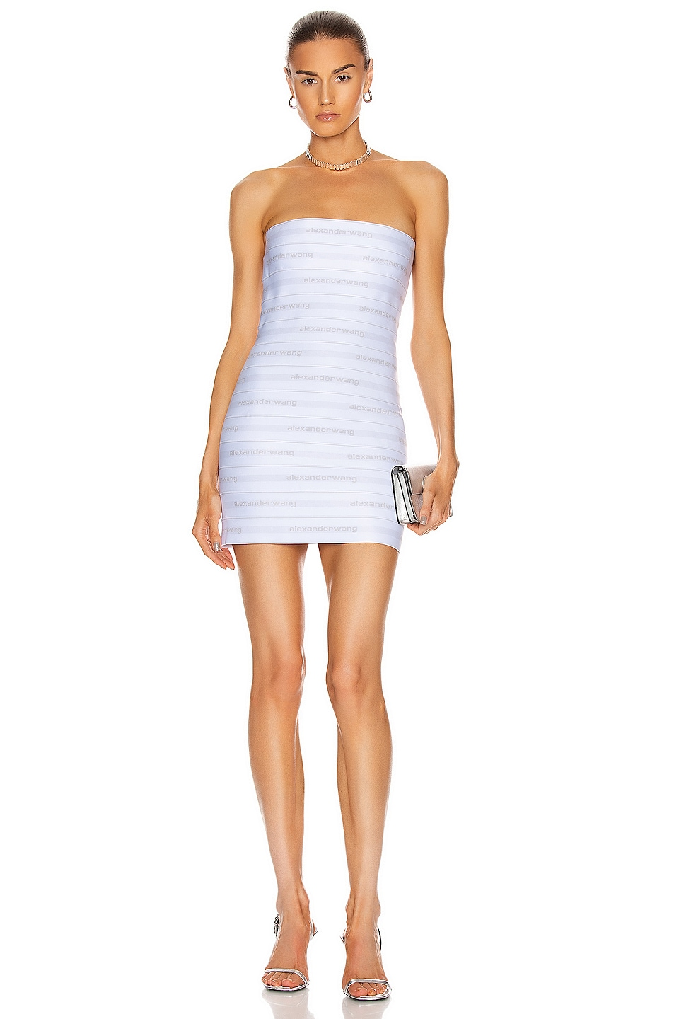 Image 1 of Alexander Wang Logo Elastic Bandeau Dress in White