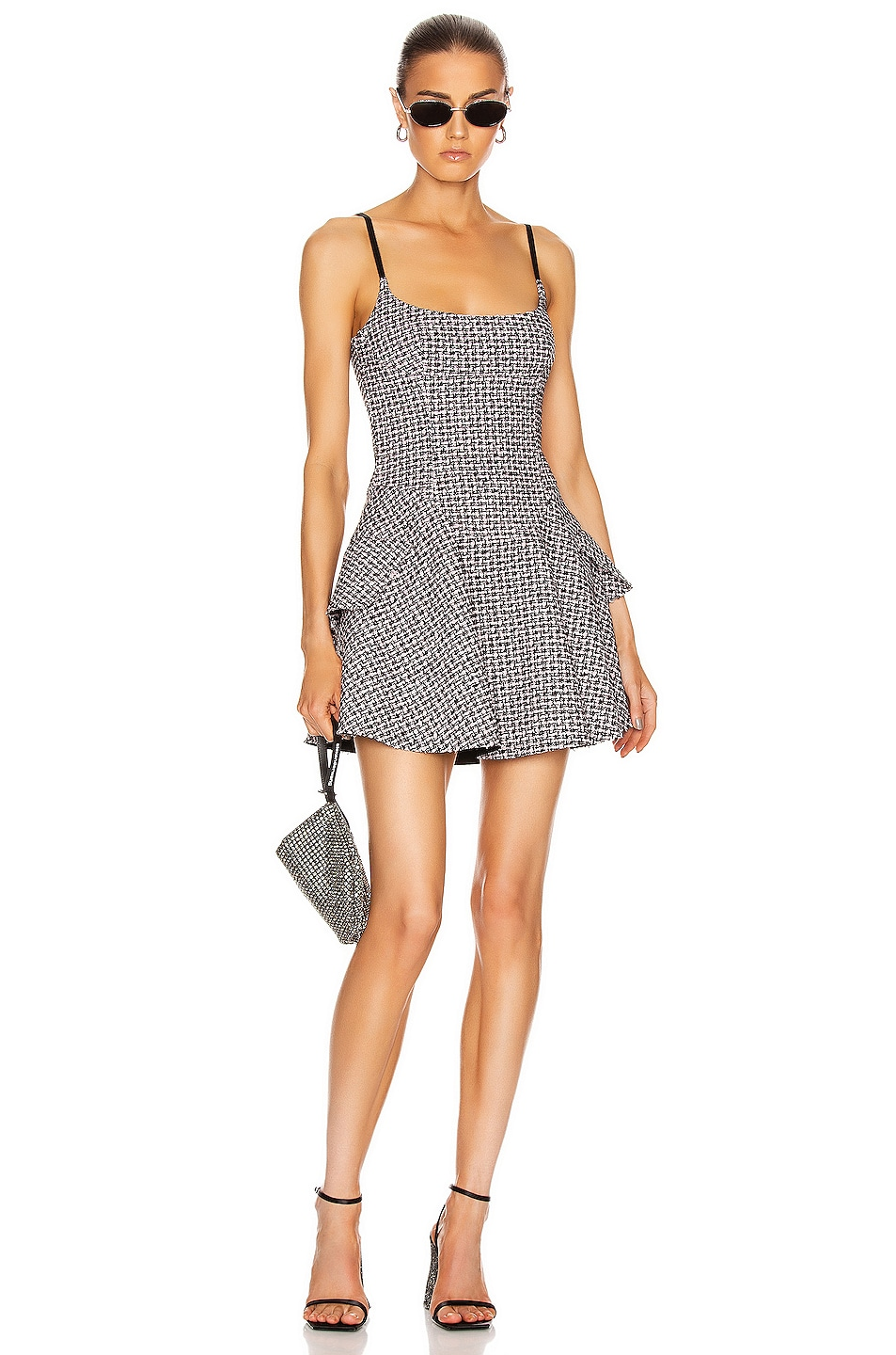 Image 1 of Alexander Wang Tweed Fit and Flare Dress in Black & Pink
