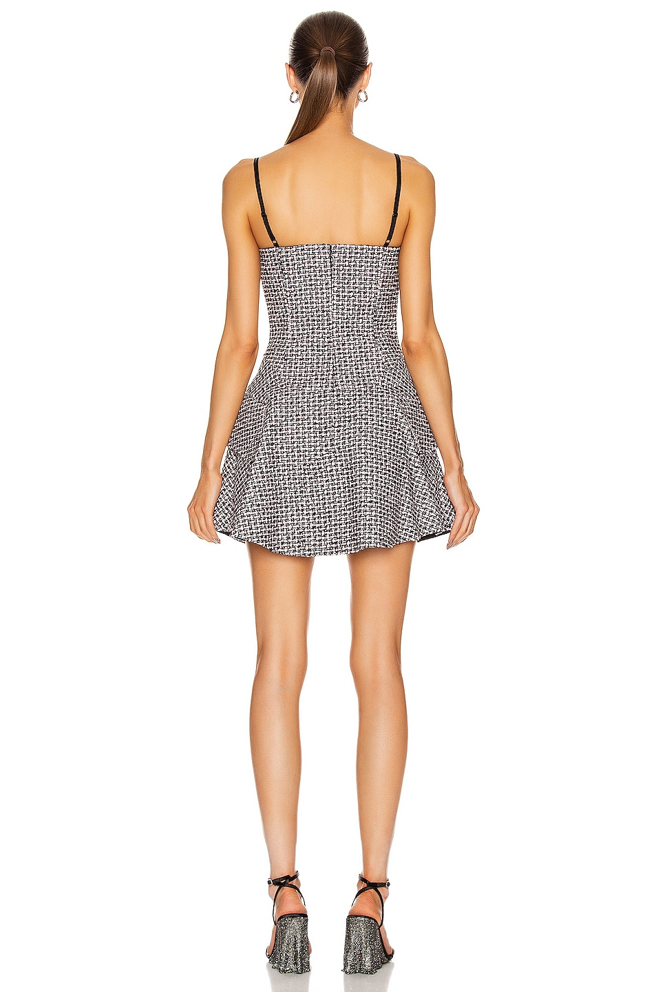 Image 3 of Alexander Wang Tweed Fit and Flare Dress in Black & Pink