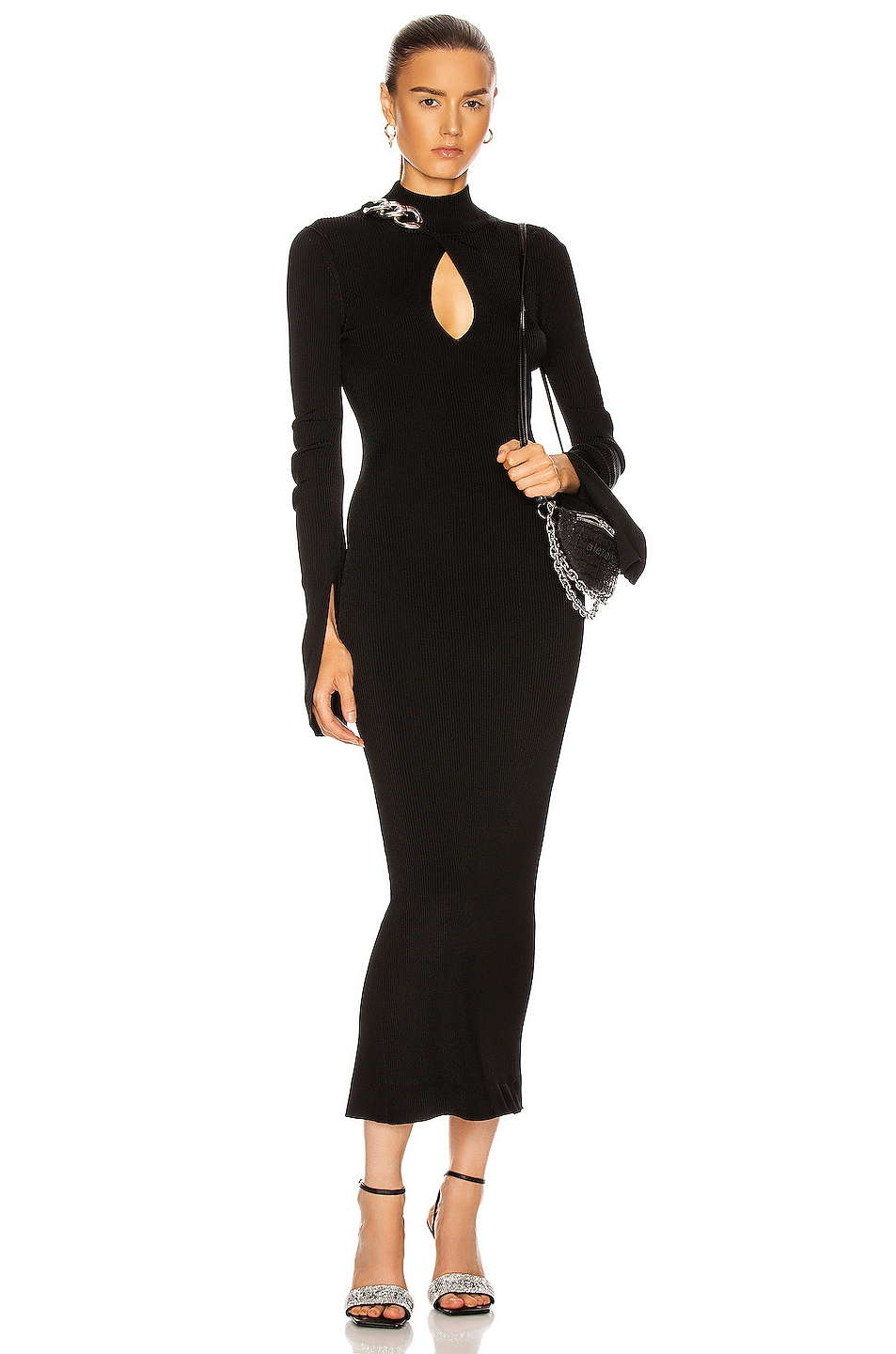 Image 1 of Alexander Wang Chain Turtleneck Midi Dress in Black