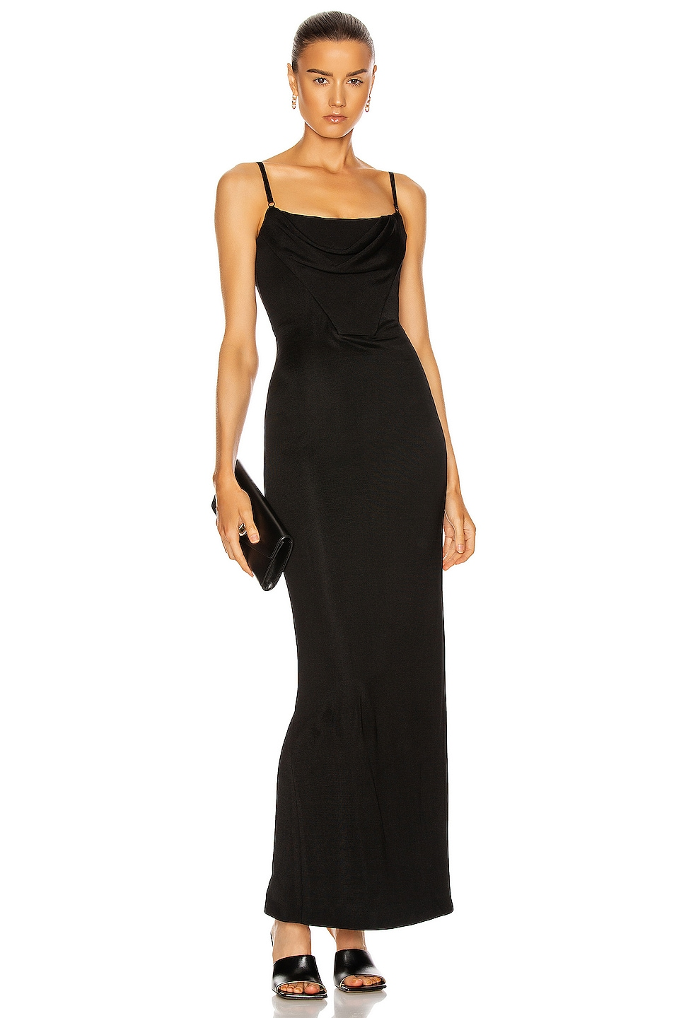 Image 1 of Alexander Wang Draped Corset Gown in Black