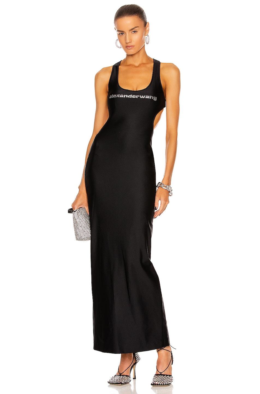 Image 1 of Alexander Wang Diamante Side Cutout Bikini Dress in Black
