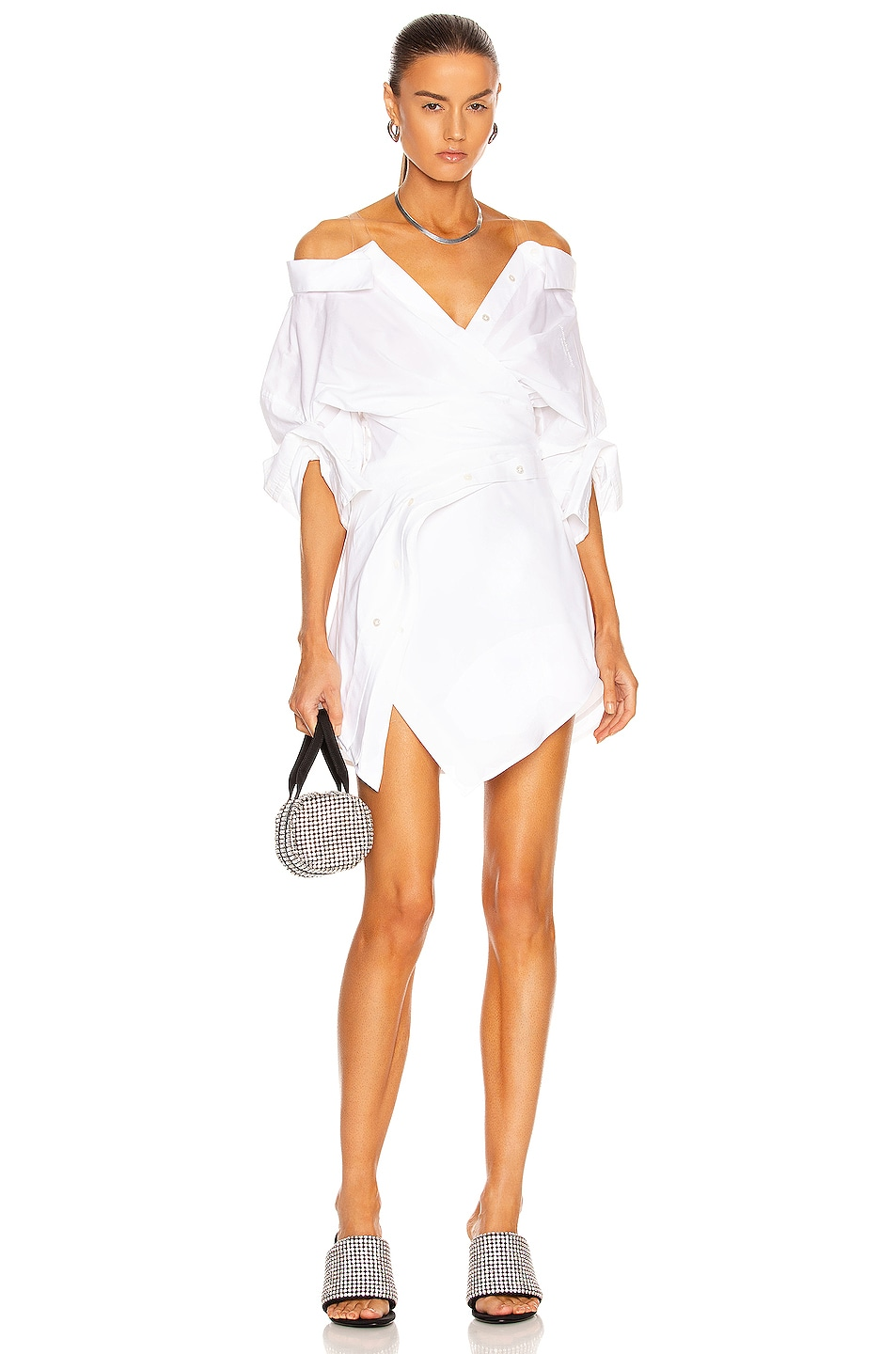 Image 1 of Alexander Wang Wrap Front Off the Shoulder Shirt Dress in White