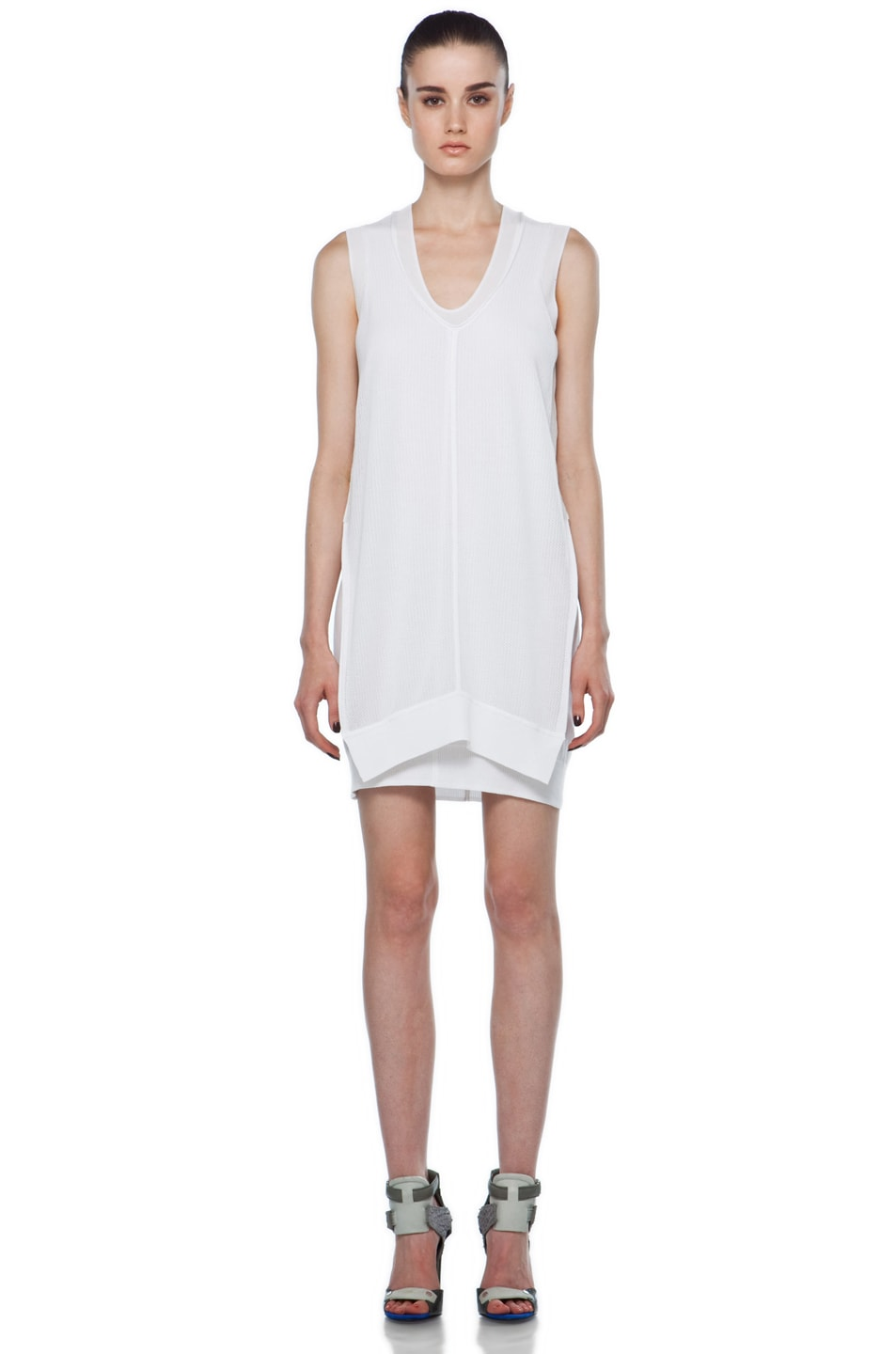 Image 1 of Alexander Wang Double Layer Mesh Tank Dress in White