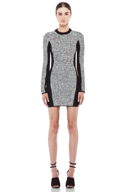 Image 1 of Alexander Wang Rubberized Tweed Long Sleeve Dress in Black