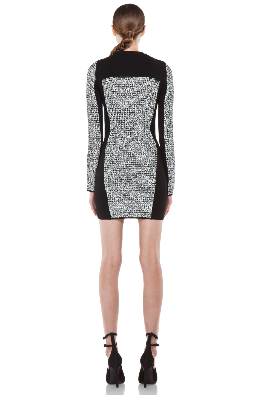 Image 4 of Alexander Wang Rubberized Tweed Long Sleeve Dress in Black
