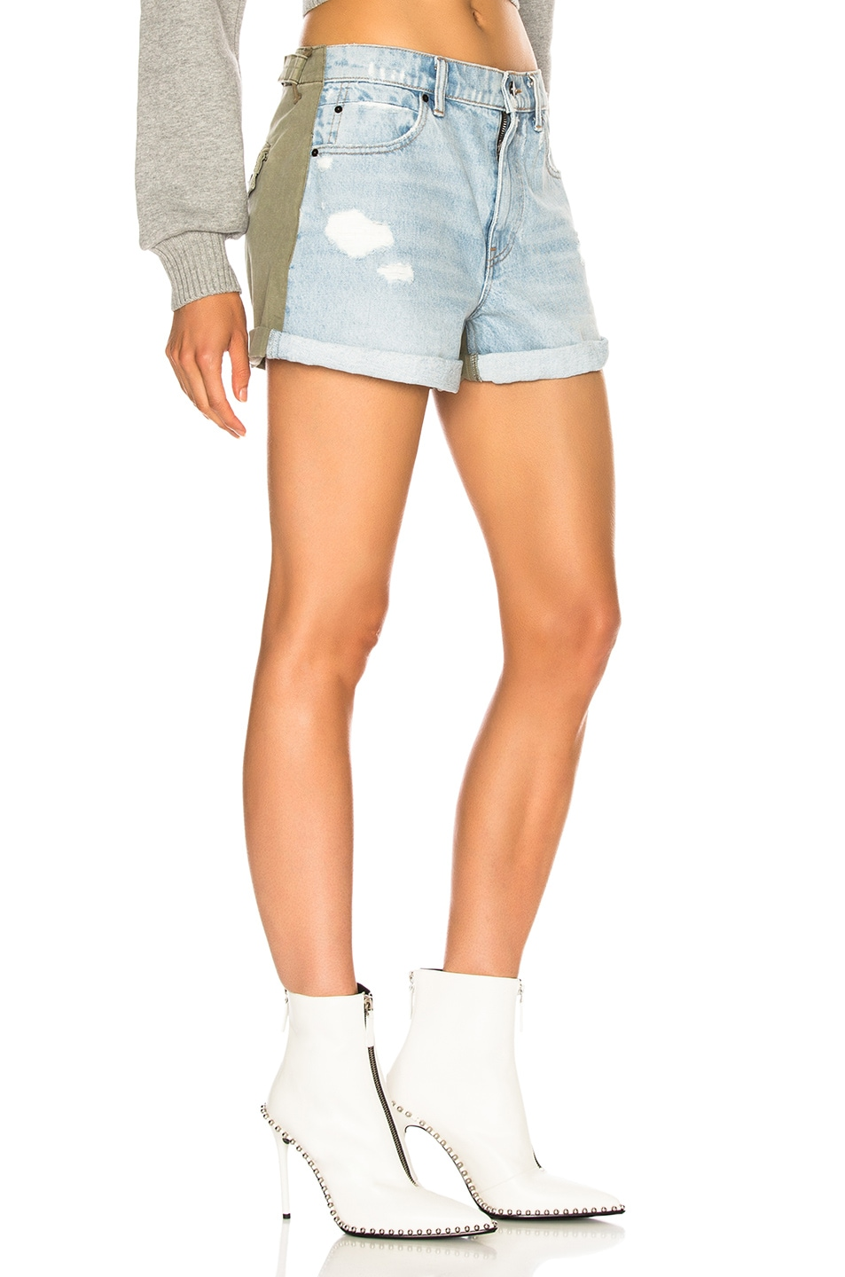Image 3 of Alexander Wang Hike Mix Short in Bleach & Army Green
