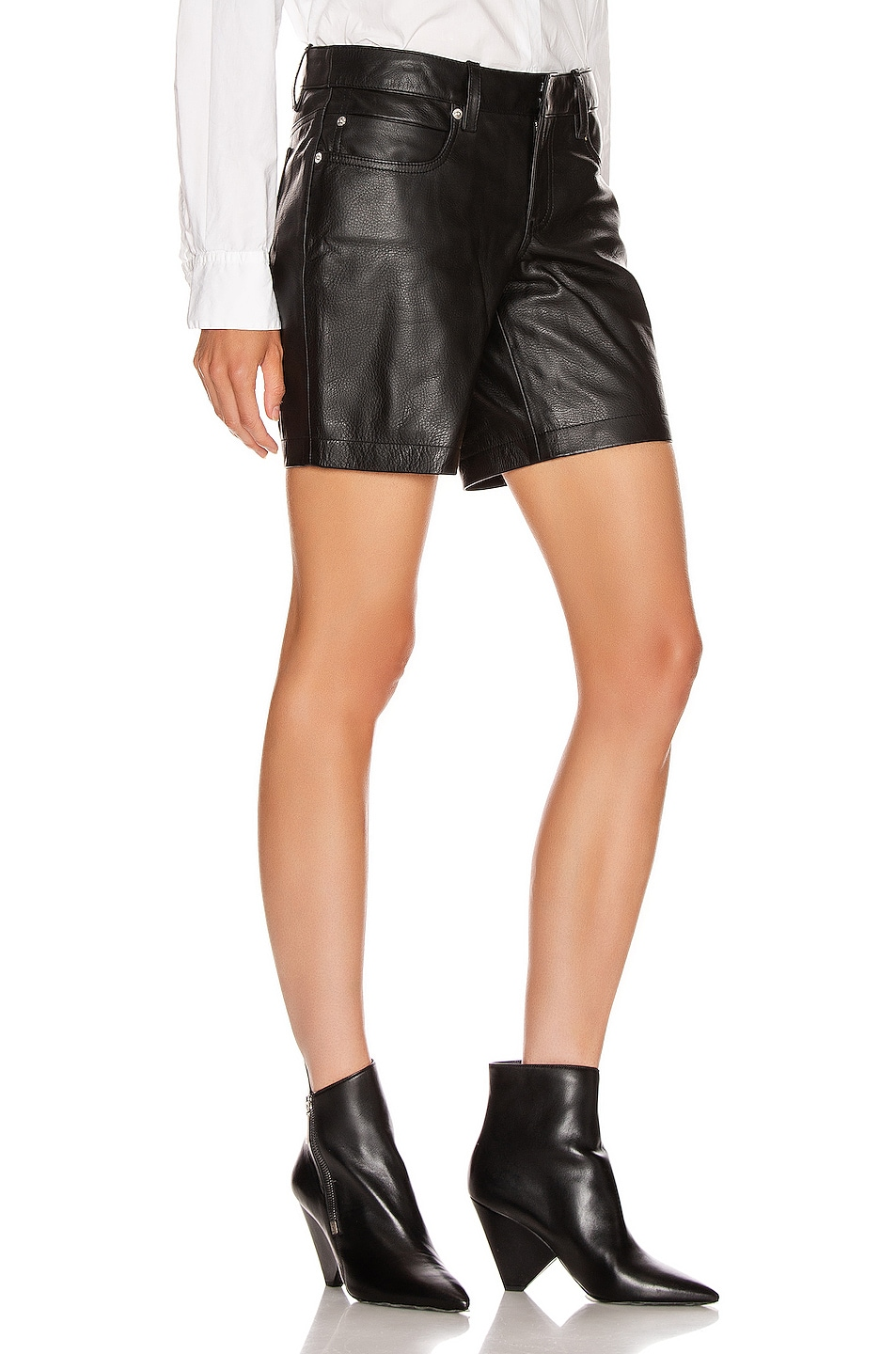 Image 2 of Alexander Wang Leather Patch Short in Black