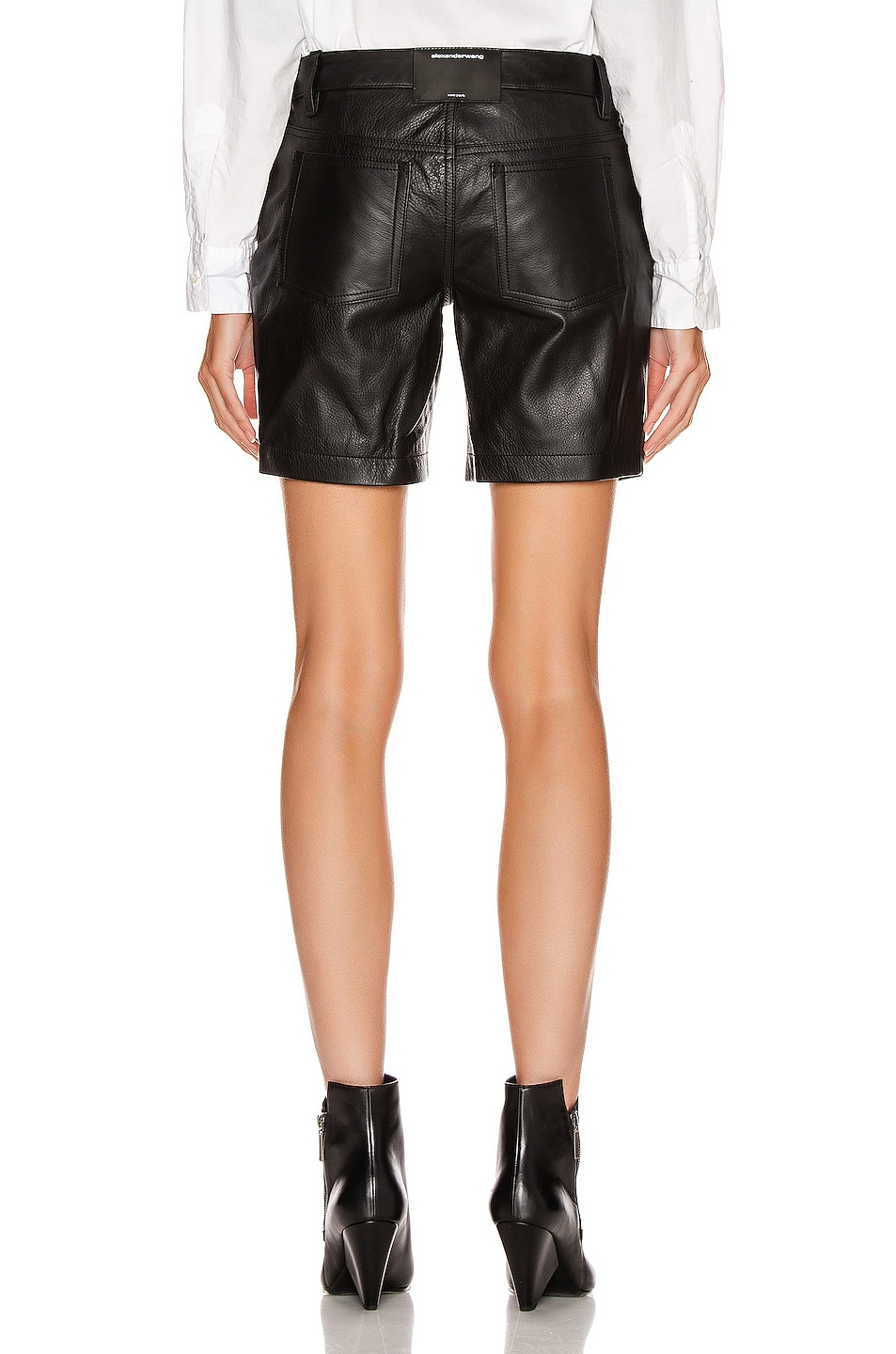 Image 3 of Alexander Wang Leather Patch Short in Black