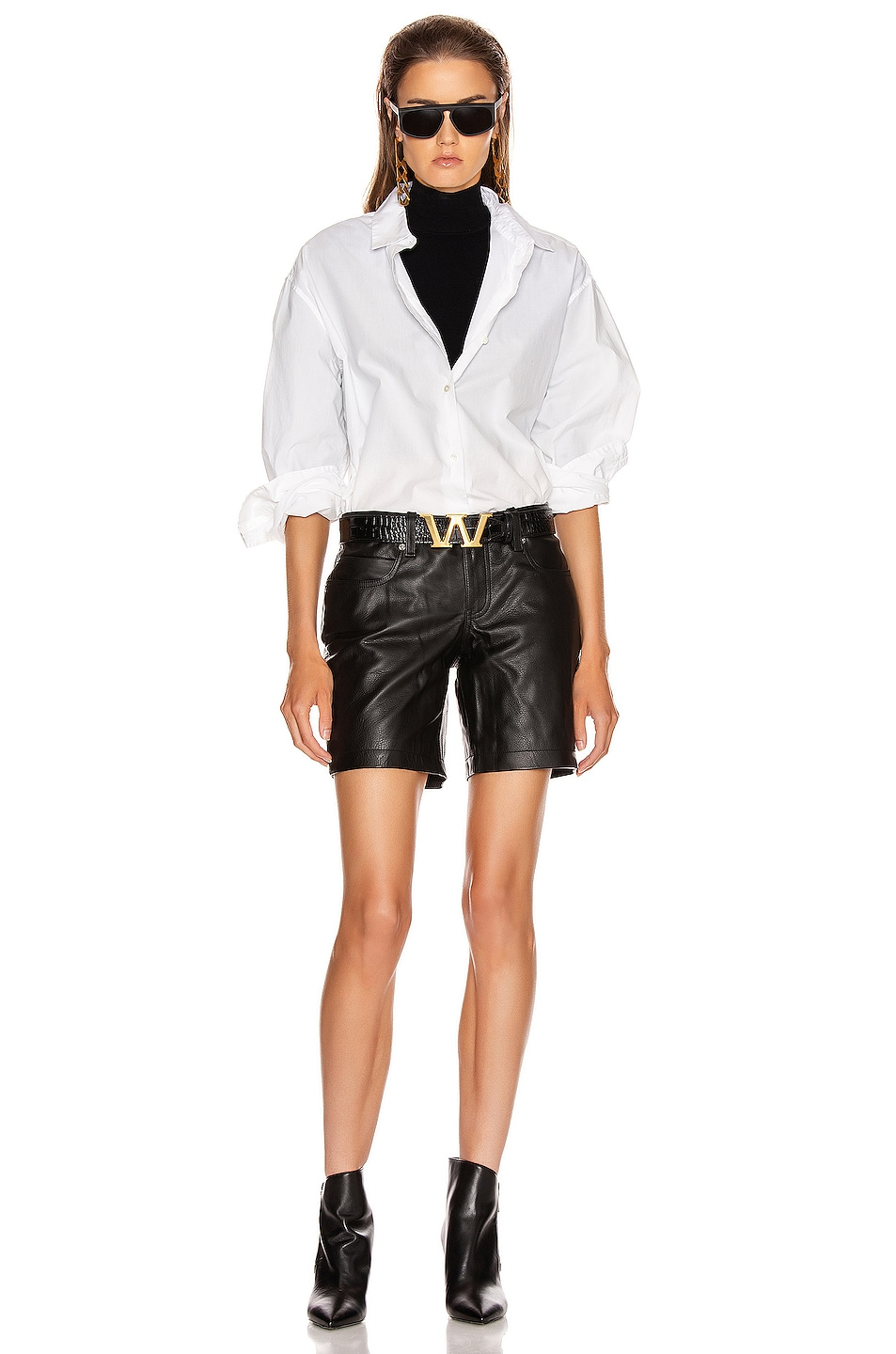 Image 4 of Alexander Wang Leather Patch Short in Black