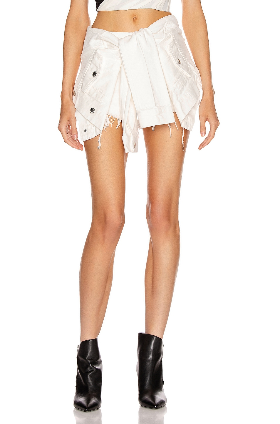Image 1 of Alexander Wang Front Waist Tie Skort in Carpenter White