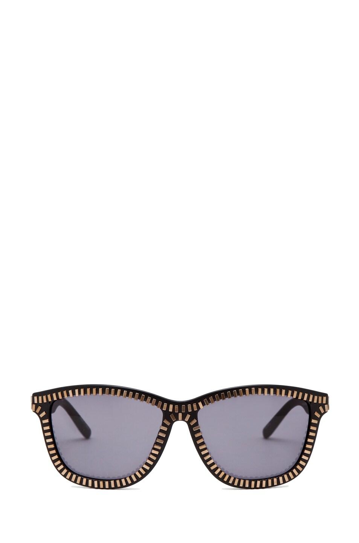 Image 1 of Alexander Wang Zipper Sunglasses in Matte Black/Brass