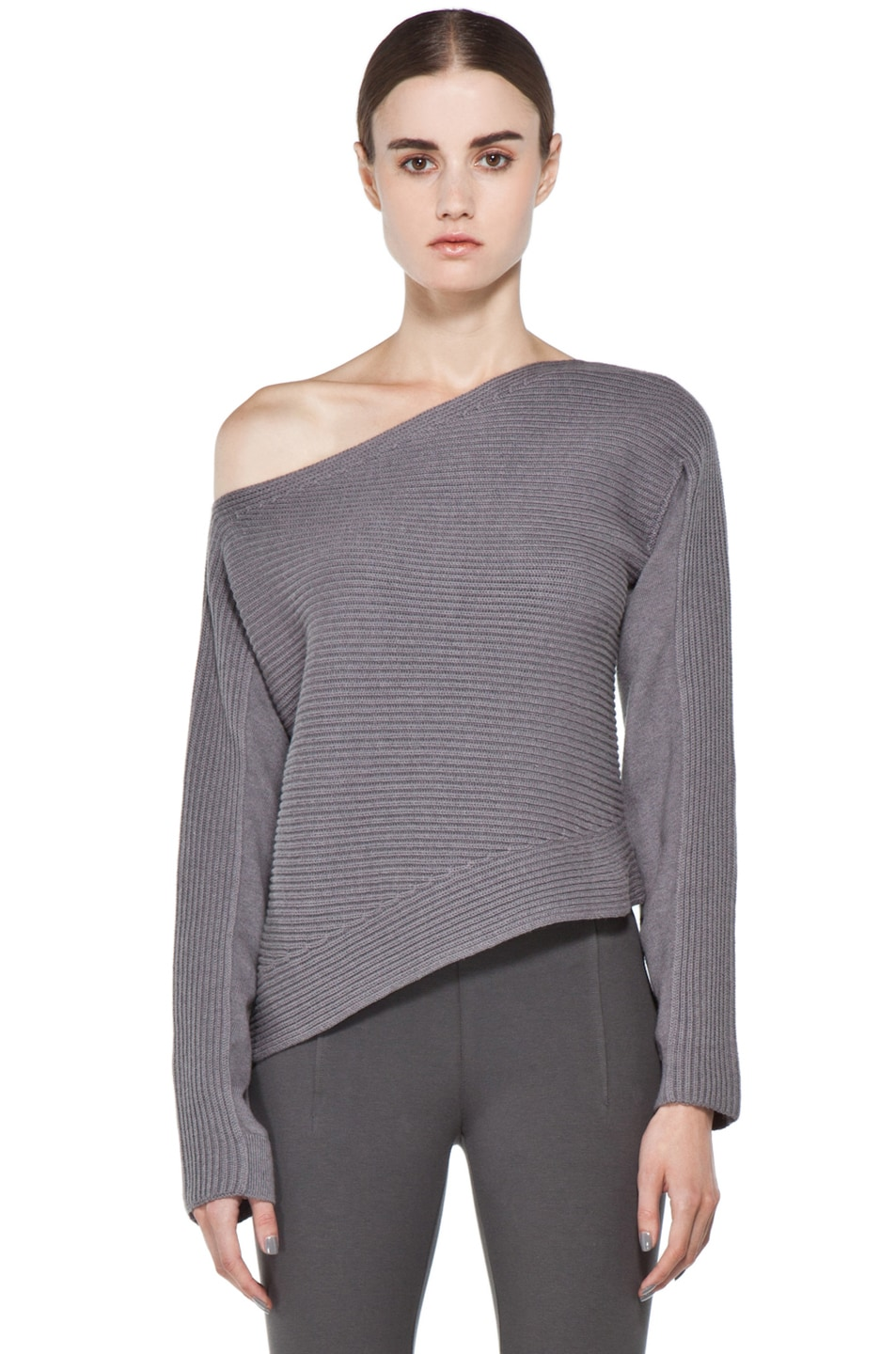 Image 1 of Alexander Wang Patchwork Stitch Asymmetrical Crop Top in Concrete