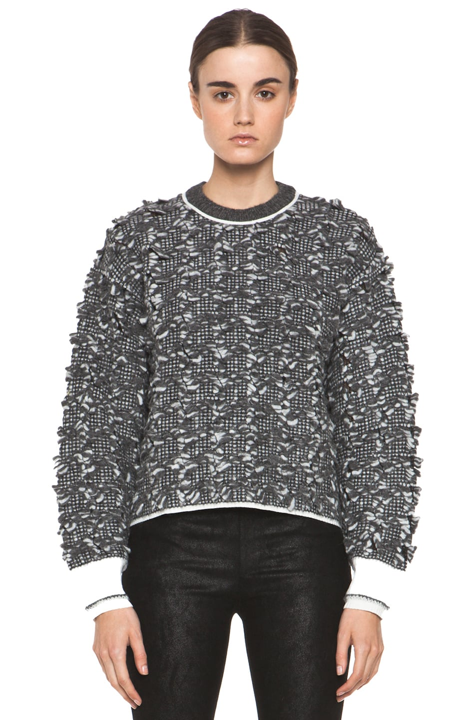 Image 1 of Alexander Wang Frayed Tween Long Sleeve Pullover in Charcoal