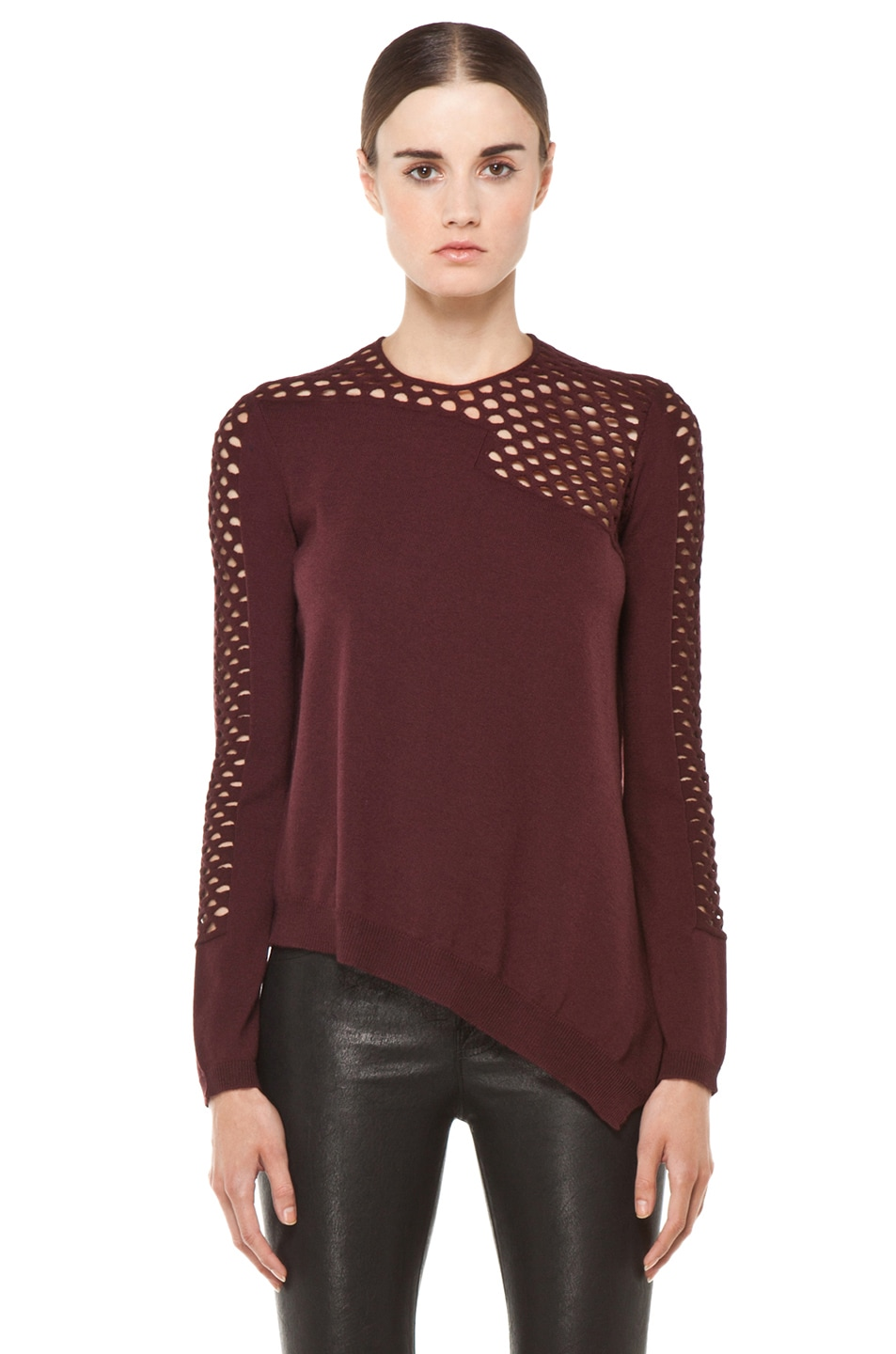 Image 1 of Alexander Wang Magnified Fishnet Asymmetrical Sweater in Ox Blood
