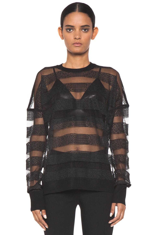 Image 1 of Alexander Wang Snakeskin Long Sleeve Pullover in Onyx