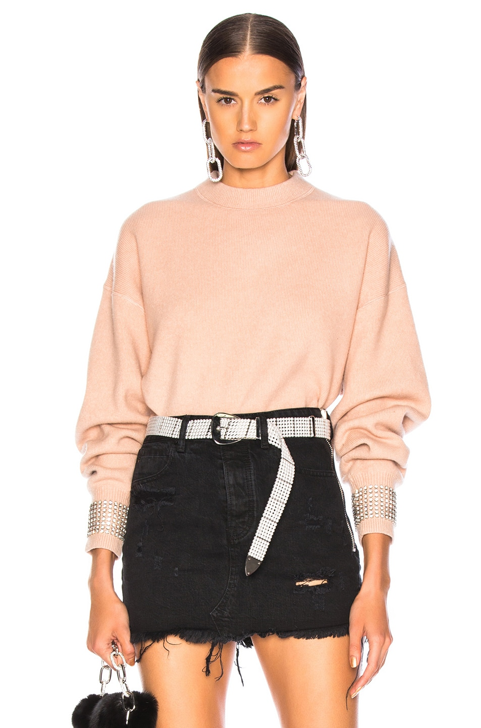 Image 1 of Alexander Wang Crystal Cuff Crew Neck Sweater in Blush