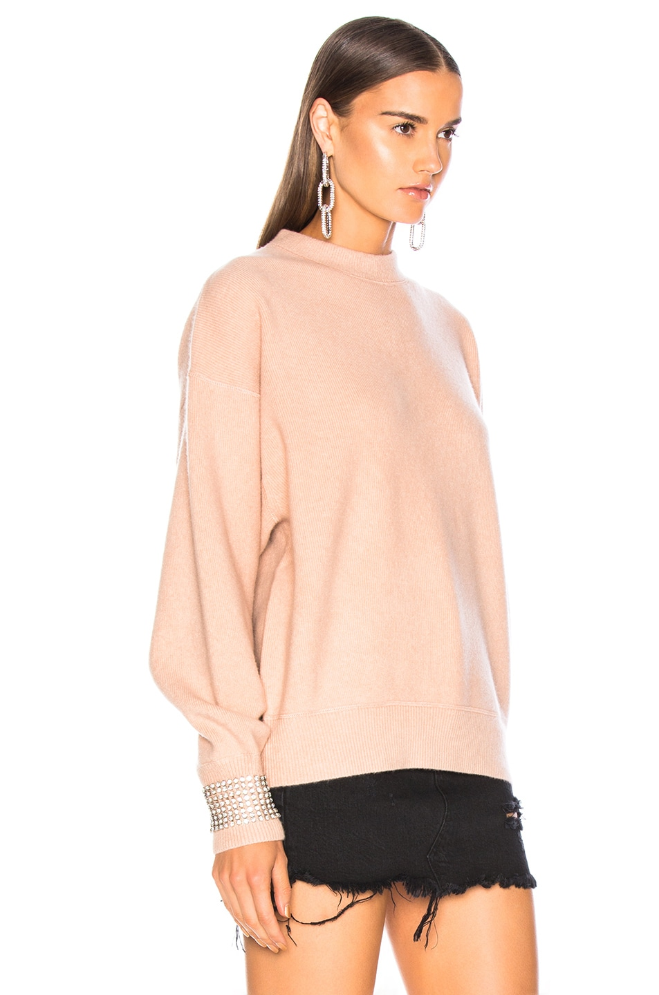 Image 2 of Alexander Wang Crystal Cuff Crew Neck Sweater in Blush