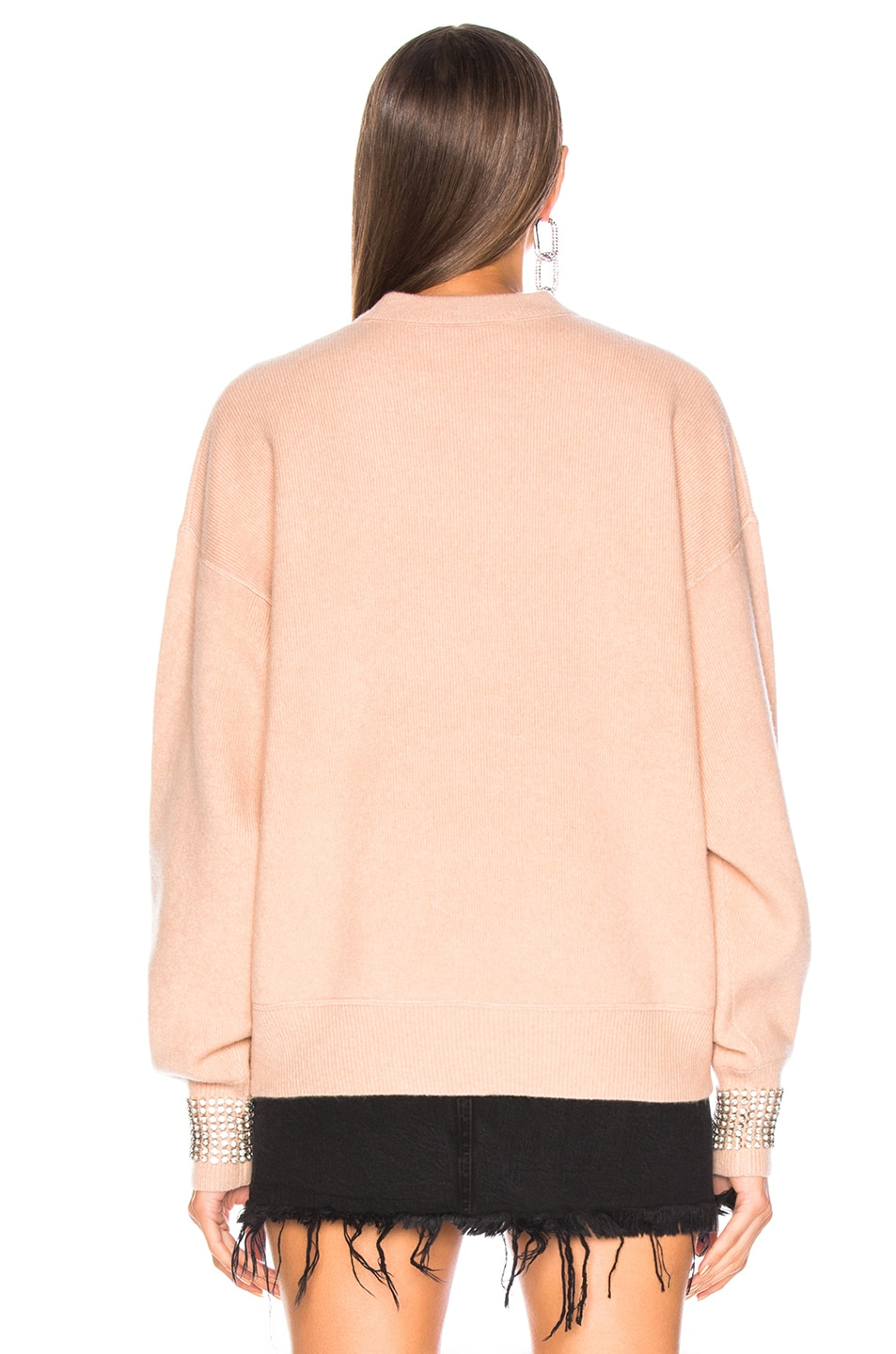 Image 3 of Alexander Wang Crystal Cuff Crew Neck Sweater in Blush