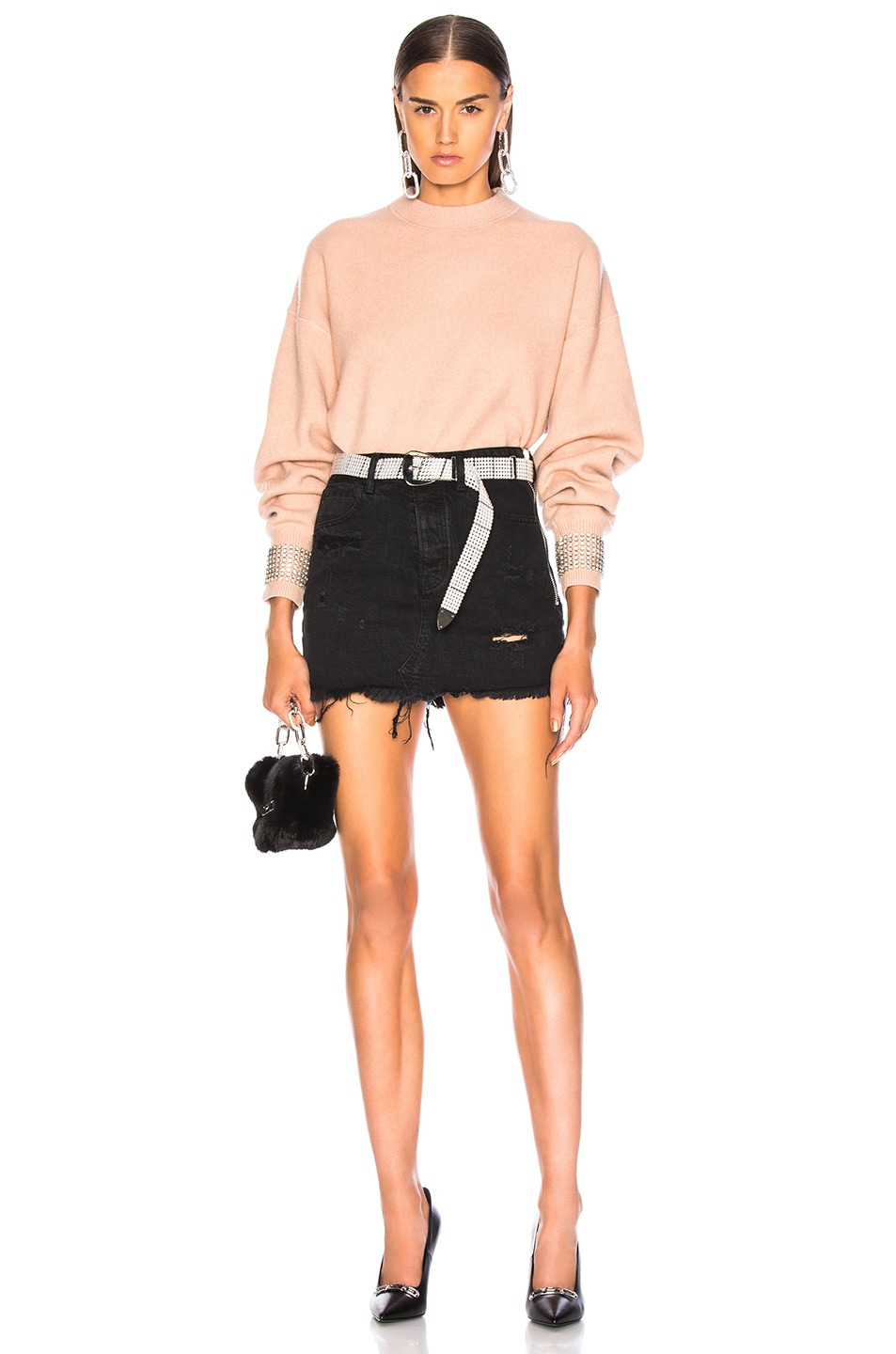 Image 4 of Alexander Wang Crystal Cuff Crew Neck Sweater in Blush