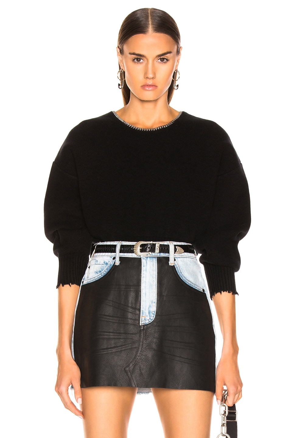 Image 1 of Alexander Wang Split Back Chain Crew Sweater in Black