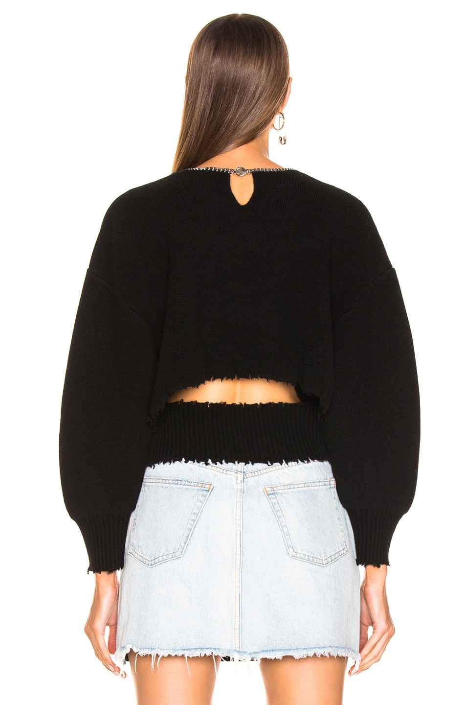 Image 3 of Alexander Wang Split Back Chain Crew Sweater in Black
