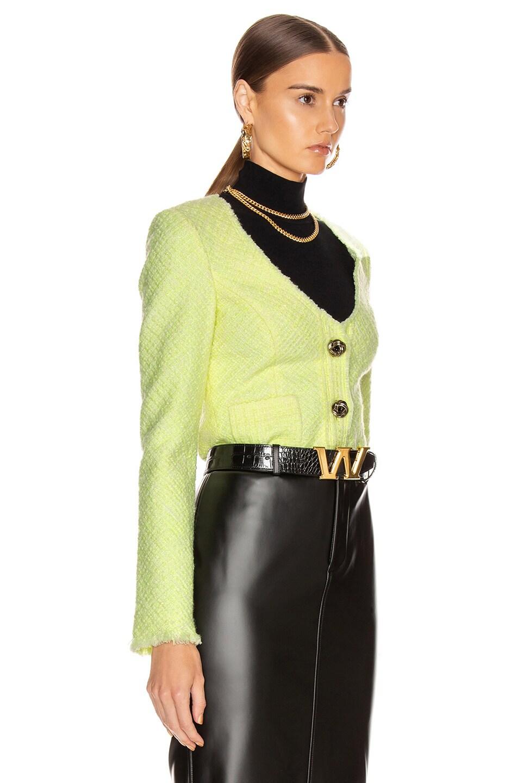 Image 3 of Alexander Wang Bias Tweed Cardigan Jacket in Highlighter
