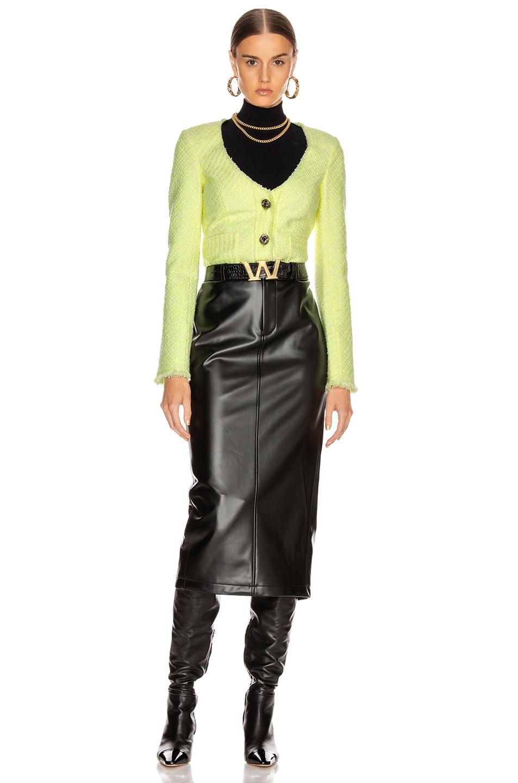 Image 5 of Alexander Wang Bias Tweed Cardigan Jacket in Highlighter