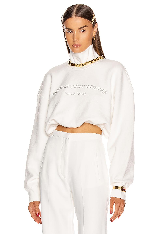 Image 1 of Alexander Wang Cropped Mock Neck Sweatshirt in White