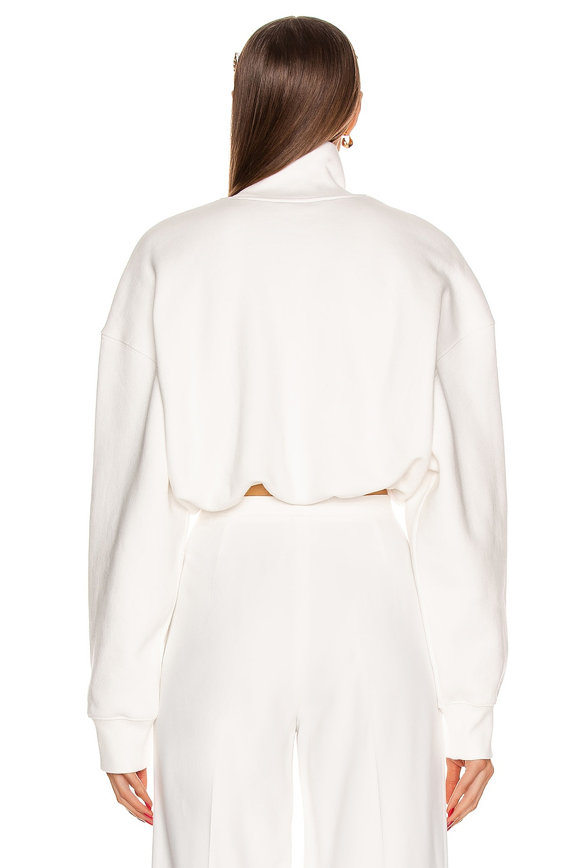 Image 3 of Alexander Wang Cropped Mock Neck Sweatshirt in White