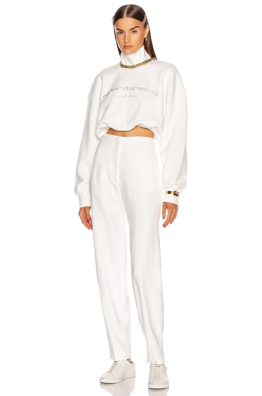 Image 4 of Alexander Wang Cropped Mock Neck Sweatshirt in White