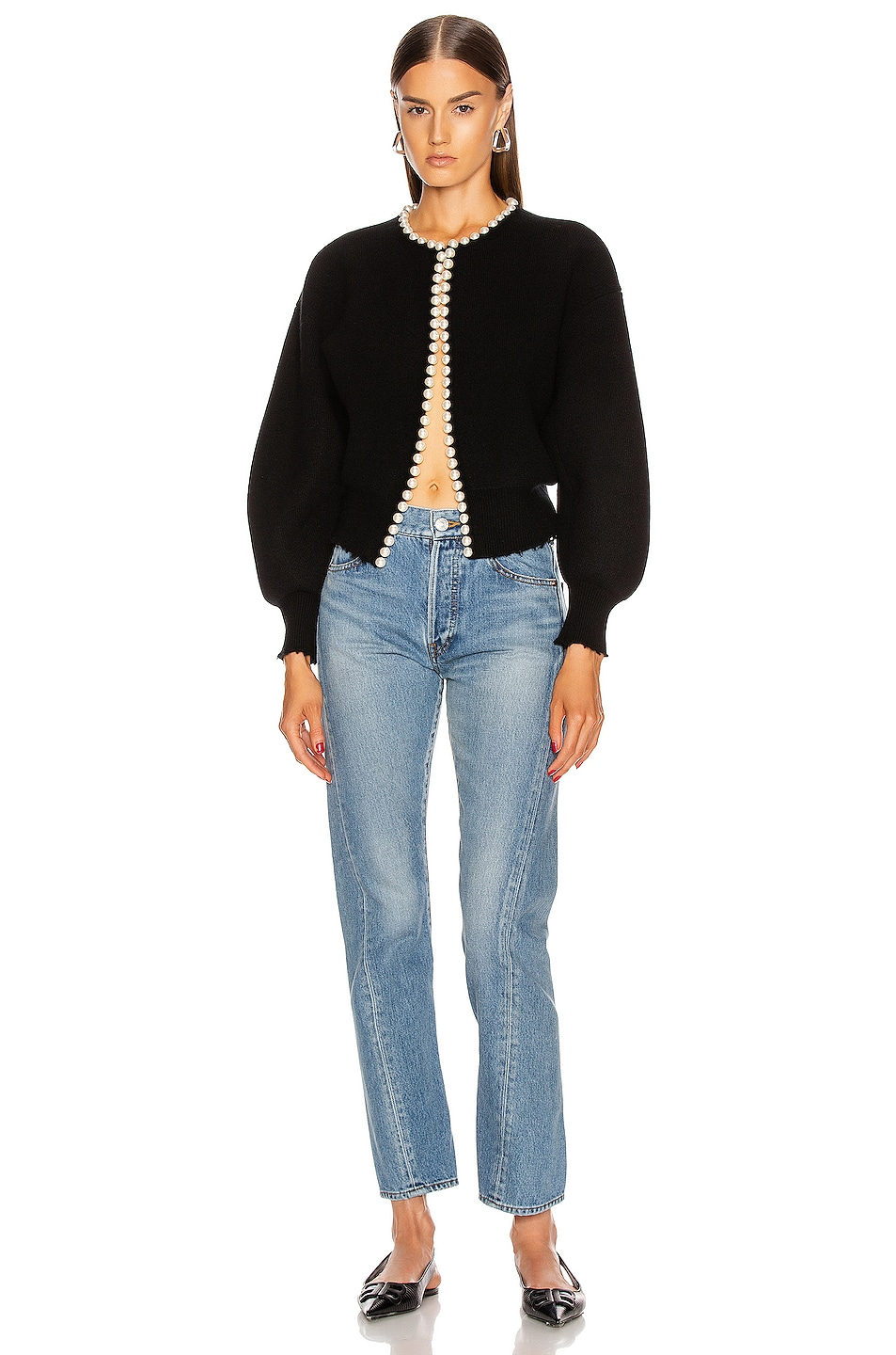 Image 4 of Alexander Wang Pearl Placket Cropped Cardigan in Black
