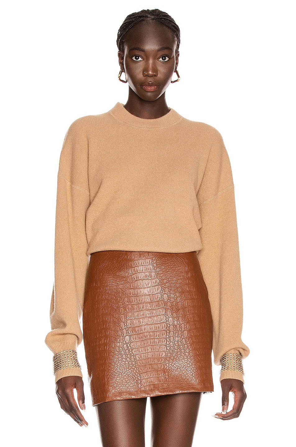 Image 1 of Alexander Wang Crystal Cuff Crew Neck Sweater in Camel