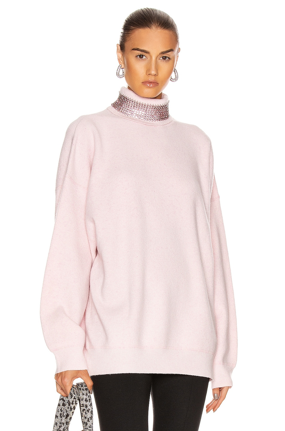 Image 1 of Alexander Wang Crystal Neck Turtleneck Sweater in Pink