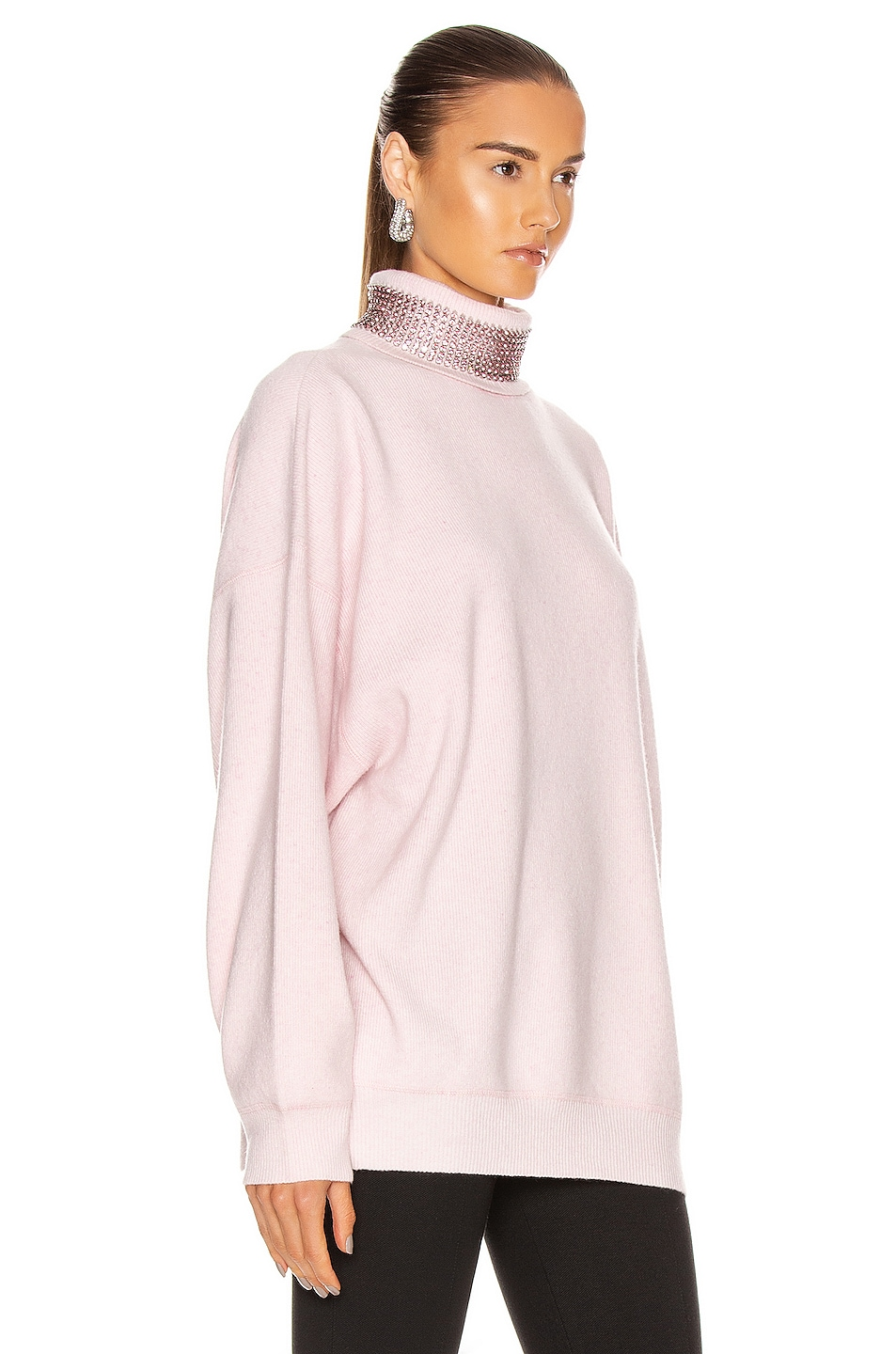 Image 2 of Alexander Wang Crystal Neck Turtleneck Sweater in Pink