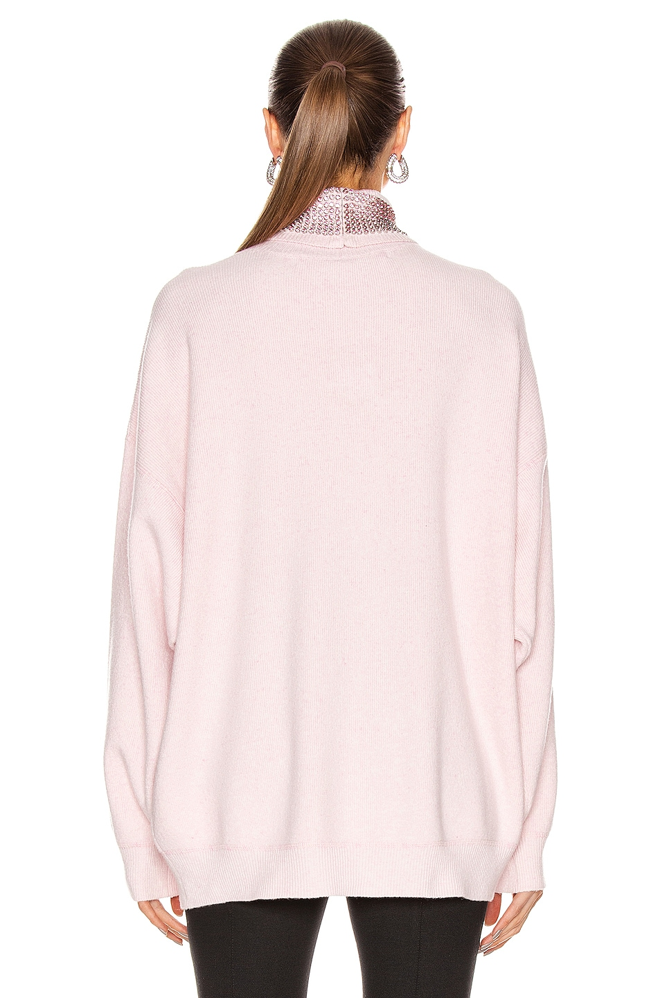 Image 3 of Alexander Wang Crystal Neck Turtleneck Sweater in Pink