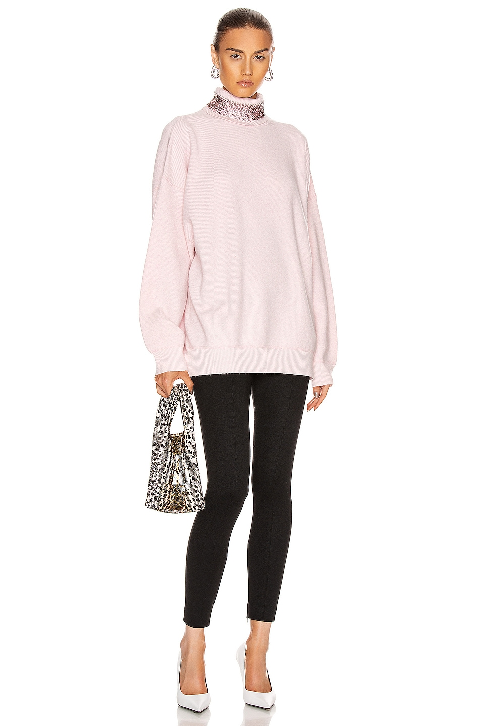 Image 4 of Alexander Wang Crystal Neck Turtleneck Sweater in Pink