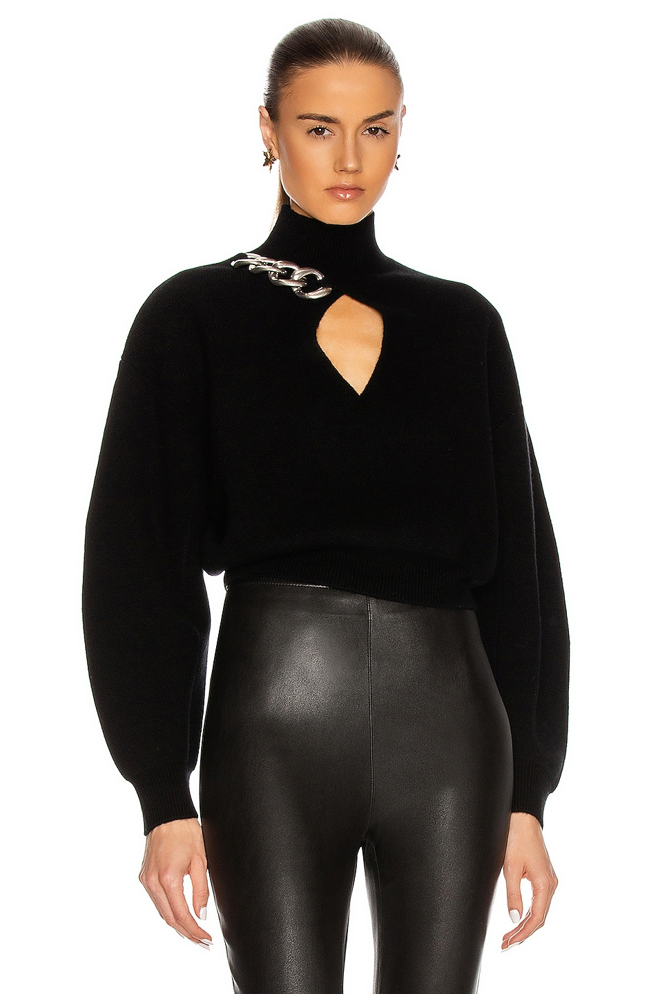 Image 1 of Alexander Wang Chain Link Turtleneck Sweater in Black