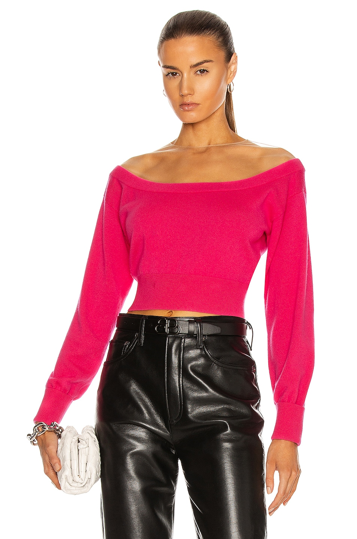 Image 1 of Alexander Wang Sheer Yoke Fitted Crop Sweater in Bright Fuchsia