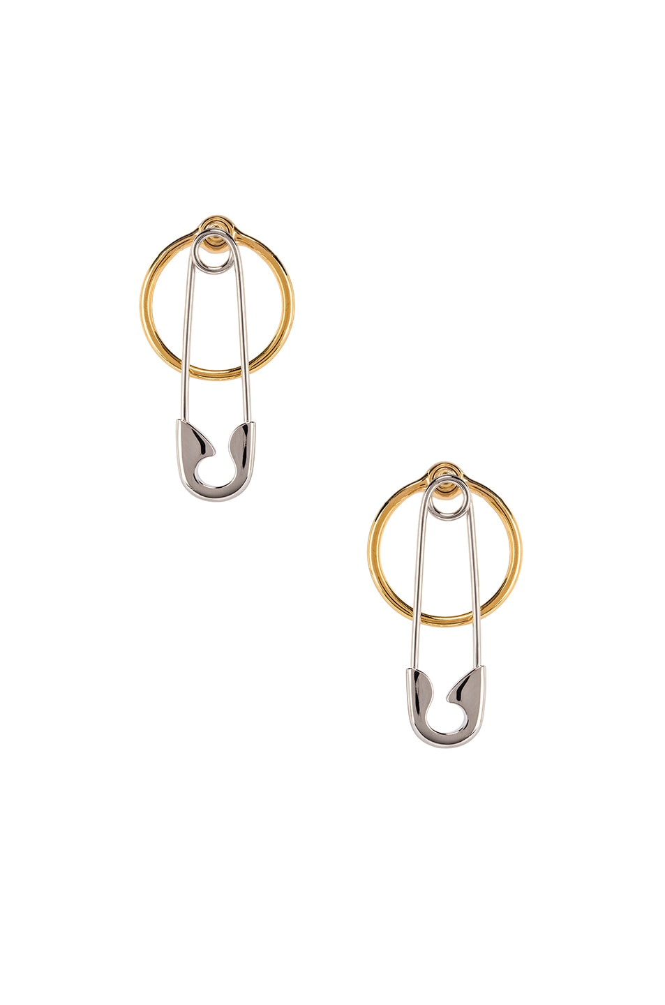 Image 1 of Alexander Wang Safety Pin and Hoop Earrings in Silver and Gold