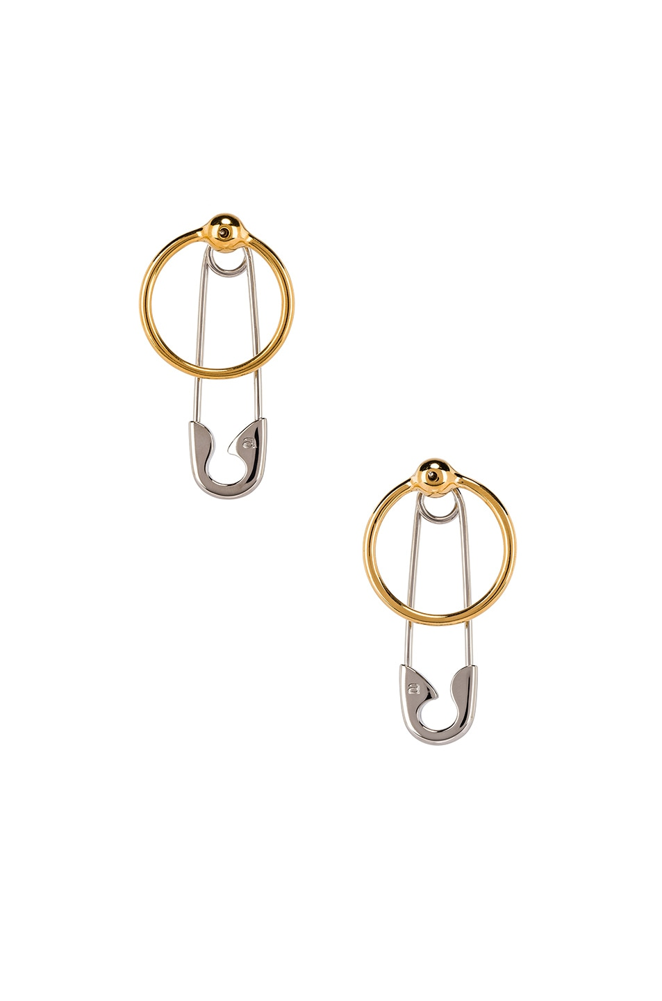 Image 3 of Alexander Wang Safety Pin and Hoop Earrings in Silver and Gold