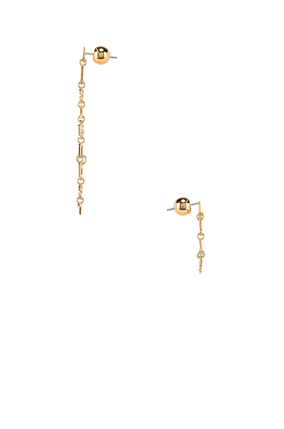 Image 3 of Alexander Wang Small Letter Earrings in Gold