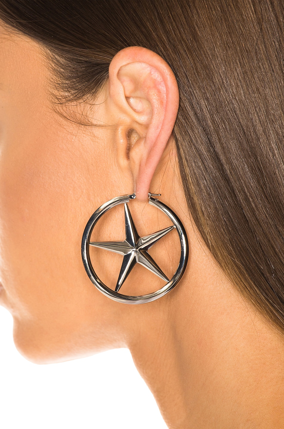 Image 2 of Alexander Wang AWG Hoop Earrings in Silver