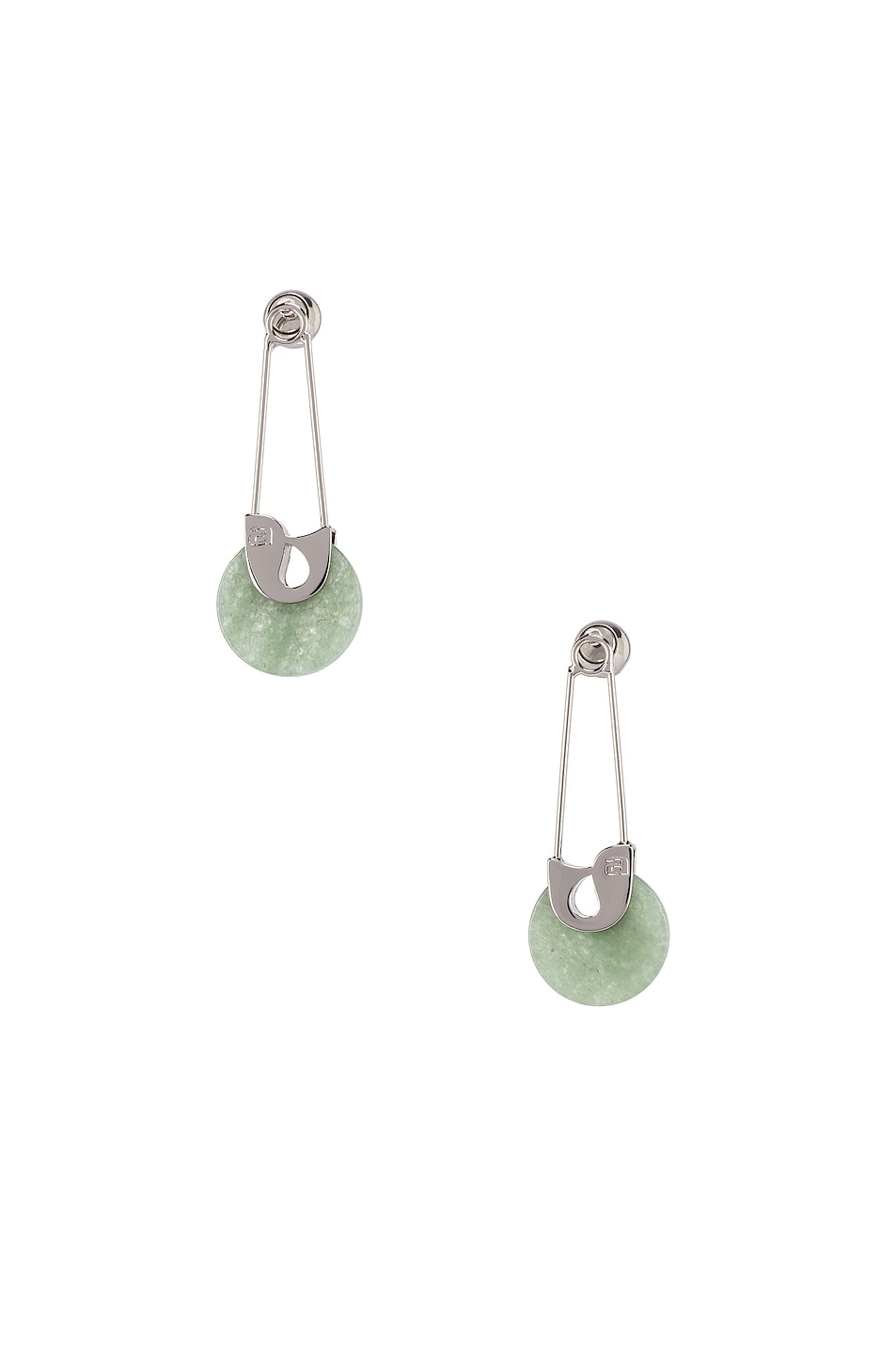 Image 1 of Alexander Wang Safety Pin Earrings in Jade & Silver
