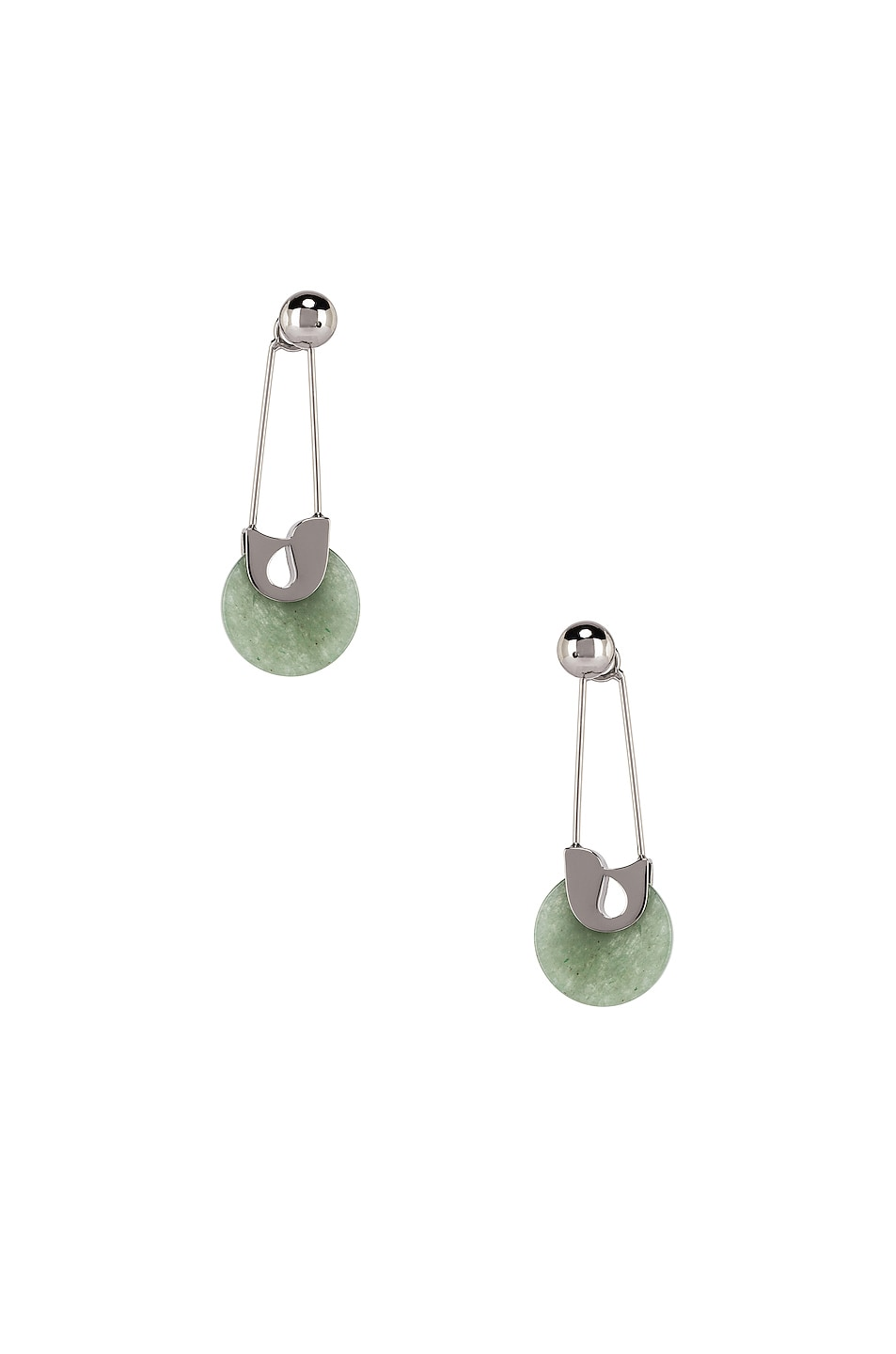 Image 4 of Alexander Wang Safety Pin Earrings in Jade & Silver