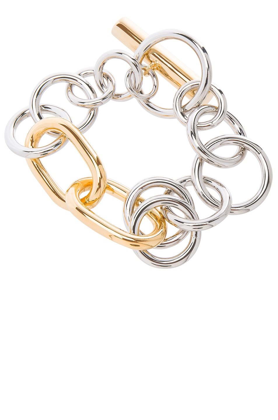 Image 1 of Alexander Wang Toggle Bracelet in Silver & Gold