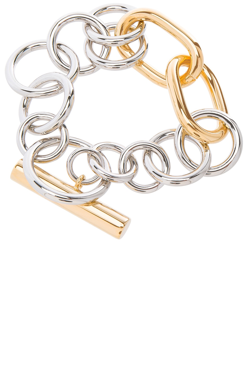 Image 2 of Alexander Wang Toggle Bracelet in Silver & Gold