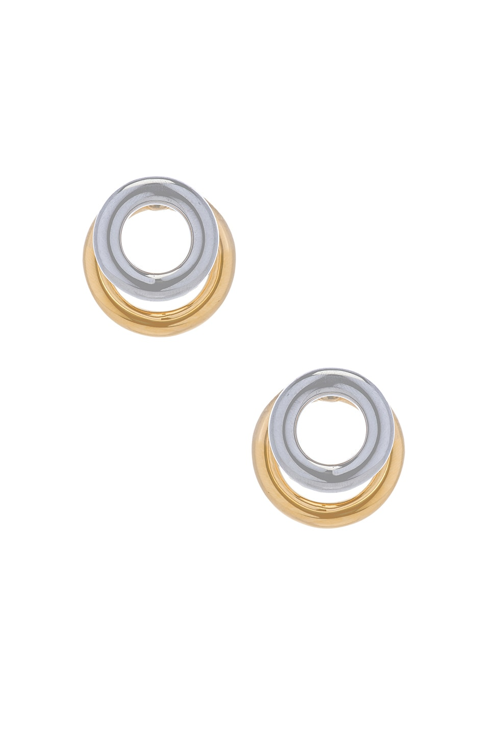 Image 1 of Alexander Wang Double Ring Earring in Imitation Rhodium & Yellow Gold