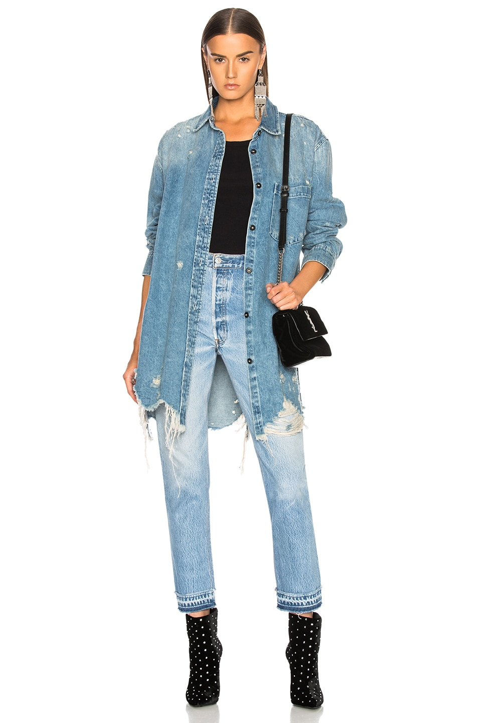 Image 1 of Alexander Wang Oversized Shirt Jacket in Vintage Light Indigo